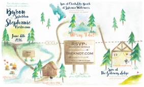 Wedding Invitation using watercolor paint and digital rendering