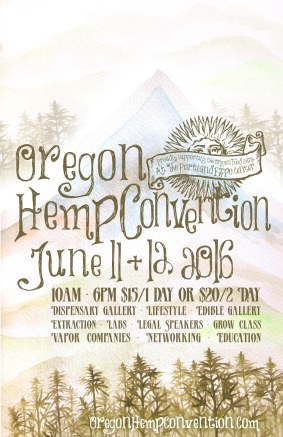 Oregon Hemp Convention poster - watercolor paint & digital rendering