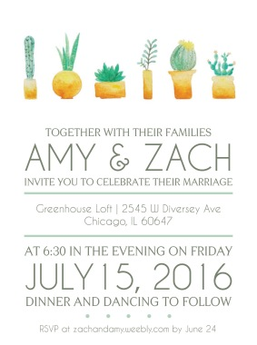 Wedding Invitation - watercolor painted succulents, digital rendering of typography